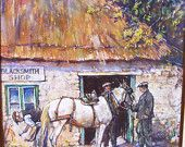 "Original Pastel Painting by Leslie Cope ""An Old World Blacksmith Shop"" Original Frame 1977"