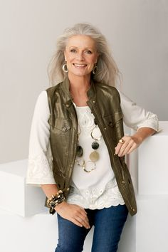 Foiled Linen Vest with Lace Tunic #chicos - of course, I'd give anything to have her hair, too!