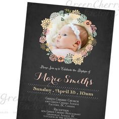 Photo Baptism Invitation - Shabby Chic Floral Photo Wreath - Chalkboard Background - Christening - No.566