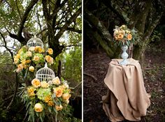Love the flowers arranged in the hanging bird cages