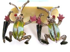 Antique Art deco style jazz hands beetle pins with by Vinphemera, $24.00