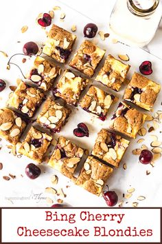 Puddles of Cream Cheese and Bing Cherry Sauce cover buttery blondies. You won't believe how scrumptious these are! Easy to make, just mix with a spoon! #hummingbirdthyme #blondies #bingcherries #easy #sweeeeet Bing Cherries, Dried Cherries, Sweet Cherries, Best Dessert Recipes, Unique Recipes, Fun Desserts, Best Cheesecake, Cheesecake Recipes, Cheesecake Brownies