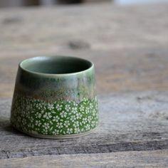 Small ceramic tea cup. Green flowers. #handmade #ceramics #pottery #tea #teacup