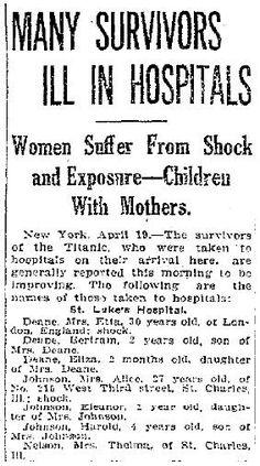 Titanic Survivors Headline  April 19, 1912