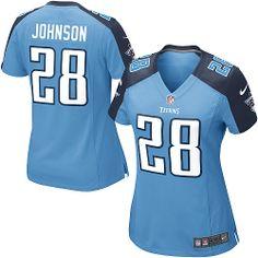 Womens Nike Tennessee Titans #28 Chris Johnson Elite Team Color Light Blue Jersey $109.99