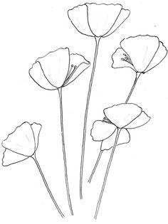 Gallery For > California Poppy Outline