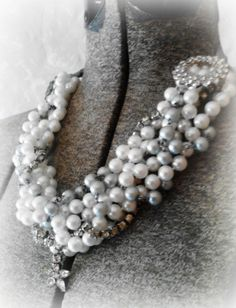 Necklace Twisted Shades of Grey Pearl Beads Brooch by BelleCosette, $45.00
