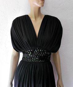 Vintage Jumpsuit/70/80 Rushed Blacked Sequin Disco