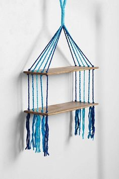Magical Thinking Woven Hanging Shelf - urban outfitters. they have a few different macrame shelves that i really love. (Could DIY) Upcycled Furniture, Furniture Projects, Wood Projects, Diy Furniture, Cardboard Furniture, Carton Diy, Diy Karton, Magical Thinking, Hanging Shelves