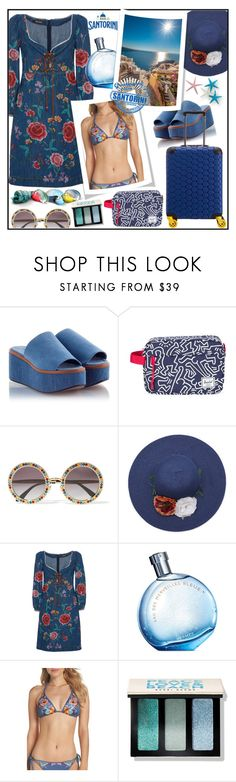 """SANTORINI!!!"" by kskafida ❤ liked on Polyvore featuring Robert Clergerie, Herschel Supply Co., Dolce&Gabbana, Roberto Cavalli, Hermès, Nanette Lepore and Bobbi Brown Cosmetics"