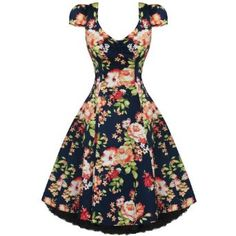 WOMENS LADIES NEW VINTAGE 1950S VTG NAVY BLUE FLORAL PARTY PROM EVENING DRESS,£24.99