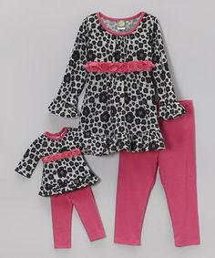 Gray Leopard Floral Tunic Set & Doll Outfit - Toddler & Girls by Dollie & Me #zulily #zulilyfinds