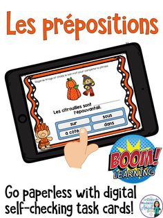 Learning French prepositions is fun with this set of digital task cards! Hosted on the Boom Learning platform, your students will love looking at the pictures and selecting the correct preposition. French Prepositions, French Adjectives, French Tenses, French Pictures, French Worksheets, French Grammar, Core French, French Classroom, French Immersion