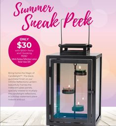March Host Special Our New Lantern! Just $30 with your $300 party submission. Call me for more information or to book your party! #lantern #reflective #colorful #tealights #candles #partylite #exclusive