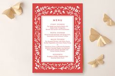 Floral Frame Square Menu by Lori Wemple at minted.com