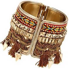 Tassel Aztec Cuff ($21) ❤ liked on Polyvore featuring jewelry, bracelets, metal bangles, bangle cuff bracelet, cuff jewelry, tassel jewelry and metal jewelry