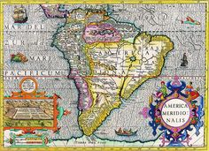 Antique map South America