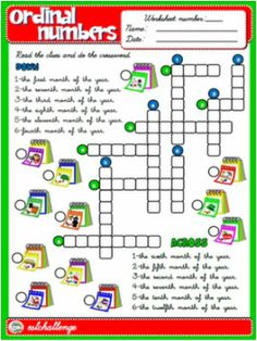 ORDINAL NUMBERS WORKSHEET #