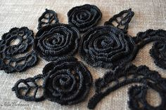 Black Irish crochet Crochet Handmade Crochet motif Lace Rose Applique Dress Jacket Party Black dress Bohho style The set includes - 10 pieces - 20 pieces- of flowers and leaves. Creating interesting applications with their own hands, seeing the result of their work, you are experiencing positive emotions. Administration is possible to apply the Irish lace. Sew or glue to clothing, handbags, wallets. Decorate the collar, cuffs, cushions, bedspreads and more. motive Size 2 - 4 (5 to 10 cm)…