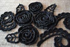 Black Irish crochet Crochet Handmade Crochet motif Lace Rose