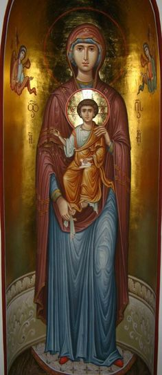 There is a difference in Greek and Russian Icons. When you see Mary in a Greek icon, She is the Theotokos. In Russian Icons She is called the Bogoroditse. Both of these words actually mean, God Bearer. Westerners have change this to Mother of God. Mary And Jesus, Orthodox Icons, Byzantine Art, Catholic Art, Christian Art, Sacred Art