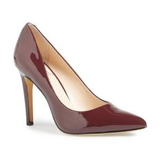 """Vince Camuto 'Kain' Pump, 4"""" heel (130 CAD) ❤ liked on Polyvore featuring shoes, pumps, deep sugar plum leather, pointed toe high heel pumps, leather pointed toe pumps, vince camuto shoes, leather pumps and pointed toe shoes"""