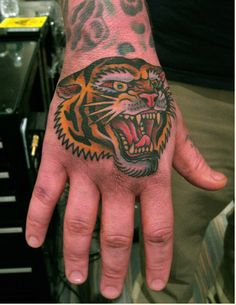 Tiger head, Steve Boltz, Smith Street Tattoo Plus Boy Tattoos, Head Tattoos, Trendy Tattoos, Body Art Tattoos, Sleeve Tattoos, Tattoo Art, Tiger Hand Tattoo, Hand Tats, 2016 Tattoo