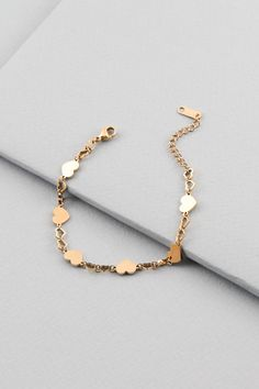 Solid hearts and heart outlines join to make this dainty Take Heart Bracelet. Gold Bracelet For Girl, Black Diamond Bracelet, Gold Heart Bracelet, Hand Jewelry, Cute Jewelry, Jewelry Accessories, Fancy Jewellery, Gold Earrings Designs, Fantasy Jewelry