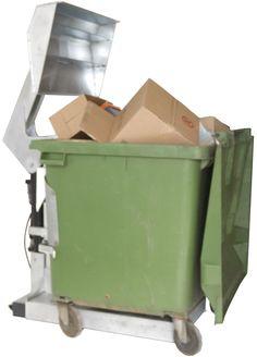 CP-1100 Containerpresse.  Lassen Sie die Luft aus Ihrem Abfall – und aus Ihren Unkosten.  Bis zu 66% des Restmülls oder Verpackungsmaterials einsparen.