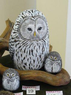 Pöllö...Beautifully painted owls!