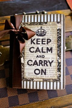 "Very chic vintage-styled notebook with ""Keep Calm and Carry On"". Comes from Jacquelyn Vaccaro's creations on Etsy."