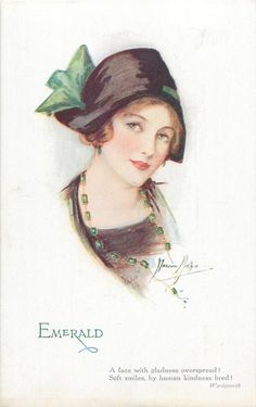 """Emerald"" ~ 1921 postcard by Marjorie Mostyn from the 'Jewel Girls' series"
