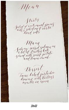 Handwritten calligraphy menu