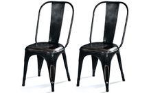 Lot de 2 chaises en métal NEWTON ANTIC