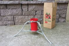 Vintage aluminum and red metal Christmas tree holder by Angeetiques on Etsy