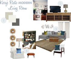 """""""Kerry's Rustic MODERN Living Room"""" by housetweaking ❤ liked on Polyvore"""