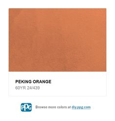 Paint Colors For DIYers & Professional Painters Explore paint color Peking Orange by PPG Timeless Paint, available at The Home Depot.A sophisticate Orange Color Schemes, Red Orange Color, Mexican Colors, Red Bluff, Kitchen Paint Colors, Professional Painters, Paint And Sip, Wall Colors, Explore