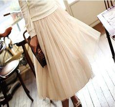 Vintage elegance Nude Woman Chic Elegant Mesh Layered Gauze Tulle Long Skirt