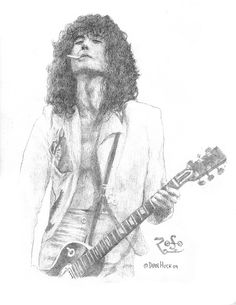 Jimmy Page - Lead Guitar of Led Zeppelin - Original Graphite Drawing by Dean Huck Jimmy Page, Led Zeppelin Art, Graphite Drawings, Celebrity Portraits, Cool Cartoons, Online Gallery, Persona, Original Artwork, Sketches