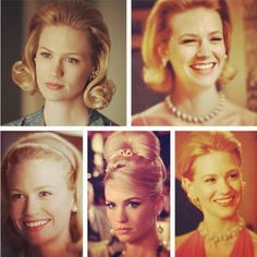 hair and jewelry ideas for the Mad Men party