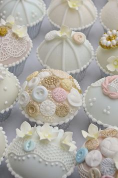 These Lace & Vintage Buttons Covered Cupcakes will be perfect for a Vintage themed first birthday party or even a baby shower!