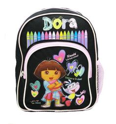 Dora the Explorer Mini Backpack 10' in Black with Boots Crayons -- Click on the image for additional details. (This is an Amazon Affiliate link and I receive a commission for the sales)