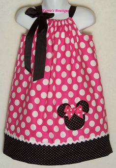 Minnie Mouse Pillowcase Dress / Pink Dots + Bk Micro Dots / Birthday / Disney / Girl / Infant / Baby / Toddler / Custom Boutique Clothing by KarriesBoutique on Etsy https://www.etsy.com/listing/190811457/minnie-mouse-pillowcase-dress-pink-dots