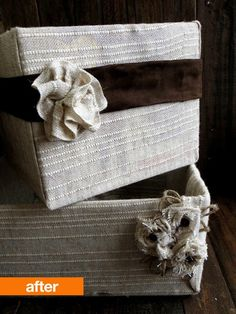 Some old boxes, a bit of hot glue, and fabric snagged at a garage sale is all Emily needed to create these chic bins.