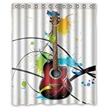 100%Polyester Fabric Rideau de douches Printing Creative Music Theme Loving Guitar In My Lfe Pictures Bathroom Rideau de douches 60 X 72 Inch by Hot Curtain