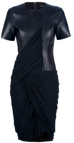 Alexander wang leather jersey draped dress in black casino outfit, battle dress, black leather Moda Rock, Casino Outfit, Looks Chic, Draped Dress, Mode Outfits, School Outfits, Alexander Wang, Passion For Fashion, Dress To Impress