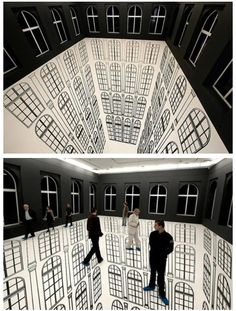 Brazilian artist Regina Silveira creates incredible illusions that play with our senses and messes with our minds. In Lodz, Polland, she created an installation called Abyssal (Depth) where she incorporated the gallery's architecture, particularly its windows, to show a never-ending abyss one could actually walk on.