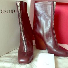 MAKE OFFER3x HP Authentic CELINE BOOTS HP at Total Trendsetter Party 2-11-14Brand New Bordeaux zipper front boots. Super soft leather boots made in Italy. These Only pair like this on posh!!!no trade no PAyPal no holds Celine Shoes