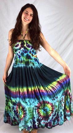 Rayon Tie Dye Maxi Tube Dress