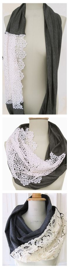 Diy scarf 3 so pretty! projects to try diy scarf, sewing, d Diy Fashion, Ideias Fashion, Womens Fashion, Fashion Sewing, Fashion Shirts, Trendy Fashion, Fashion Online, Winter Fashion, Fashion Tips